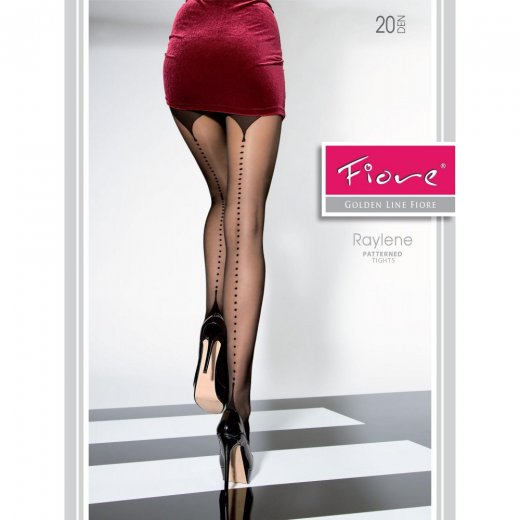 Fiore RAYLENE Patterned Back Seam 20 Denier Tights