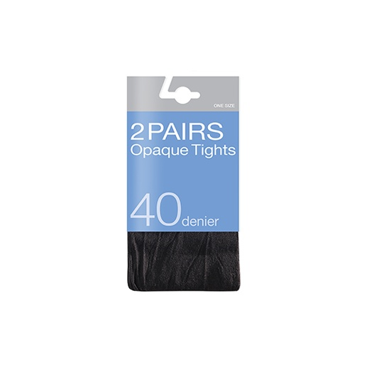 Love Your Legs 2 Pack 40 Denier Opaque Tights