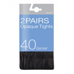 2 Pack 40 Denier Opaque Tights