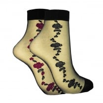 2 PACK SHEER FLOWER ANKLE HIGHS BLACK