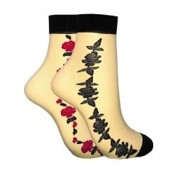 2 PACK SHEER FLOWER ANKLE HIGHS NATURAL