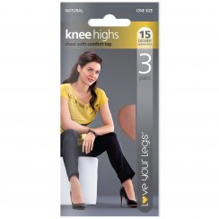 3 Pack Knee Highs 15 Denier