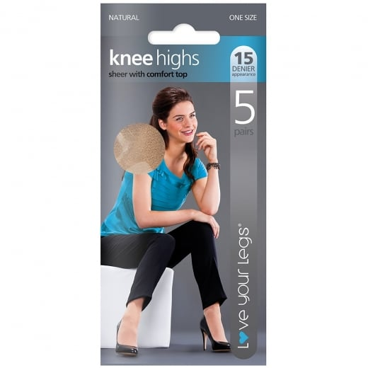 5 Pack 15 Denier Knee Highs