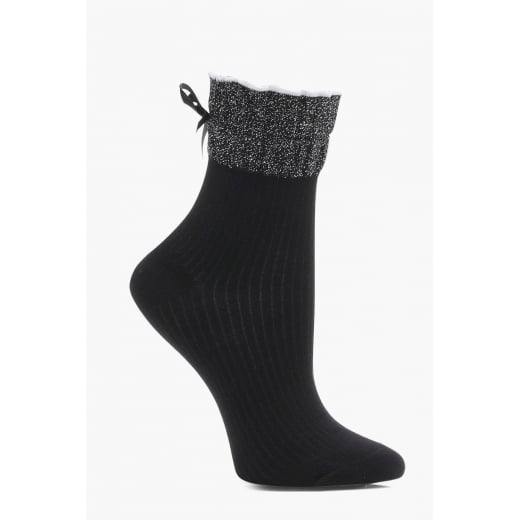 Love Your Legs Black Frill Lurex Socks With Bow