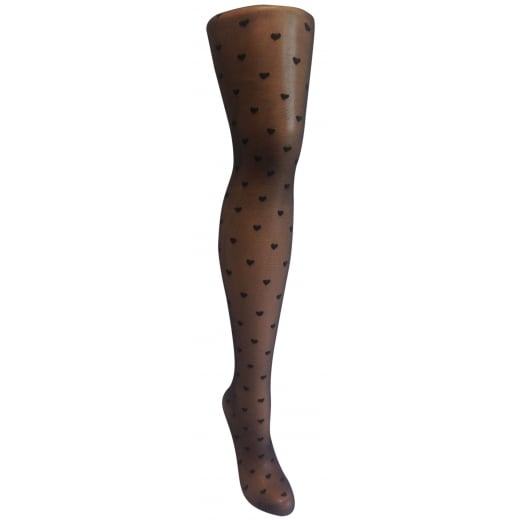 Love Your Legs Black heart patterned fashion tights