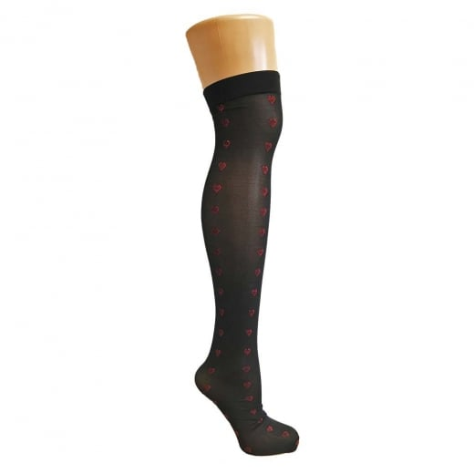 Love Your Legs Black Love Heart Stockings