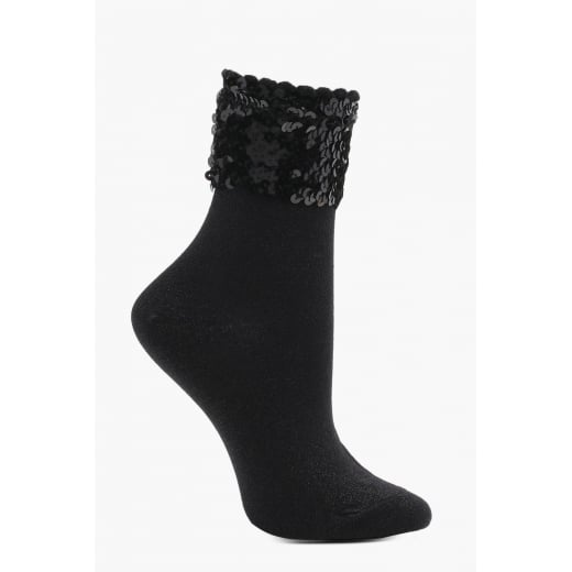 Love Your Legs Black Lurex Socks With Sequin Band
