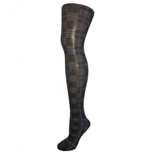 Love Your Legs Blue & Black Checkered Tights