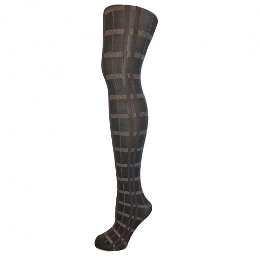 Love Your Legs Brown & Black Checkered Tights