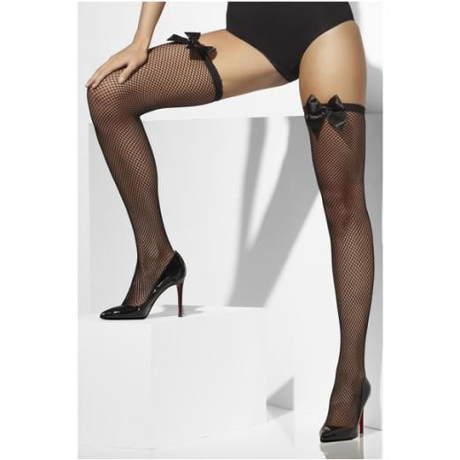 Love Your Legs Daniella Black Fishnet Hold Ups with satin bow