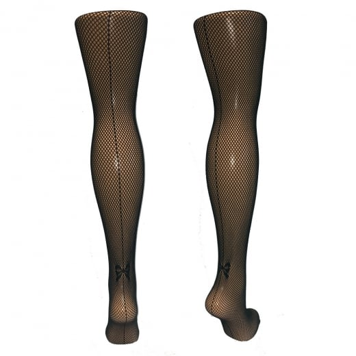 Love Your Legs Fishnets With Back Bow Seam