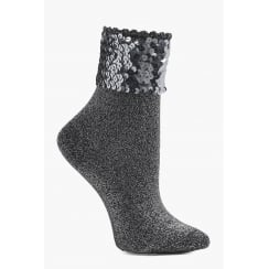 Silvery/Grey lurex socks with sequin band