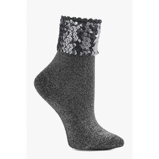 Love Your Legs Silvery Lurex Socks With Sequin Band