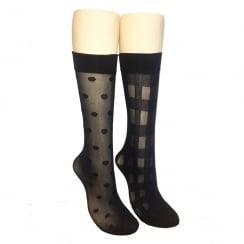 2 Pack Gingham And Spot Knee Highs