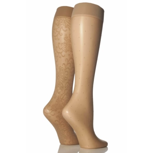 Pretty Polly 2 Pack Pattern Knee High Socks