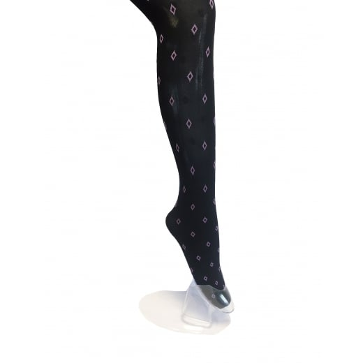 Scattered Purple Diamond Patterned Tights